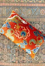 Tibet Home Dragon Tail with Bat Pillow - Orange