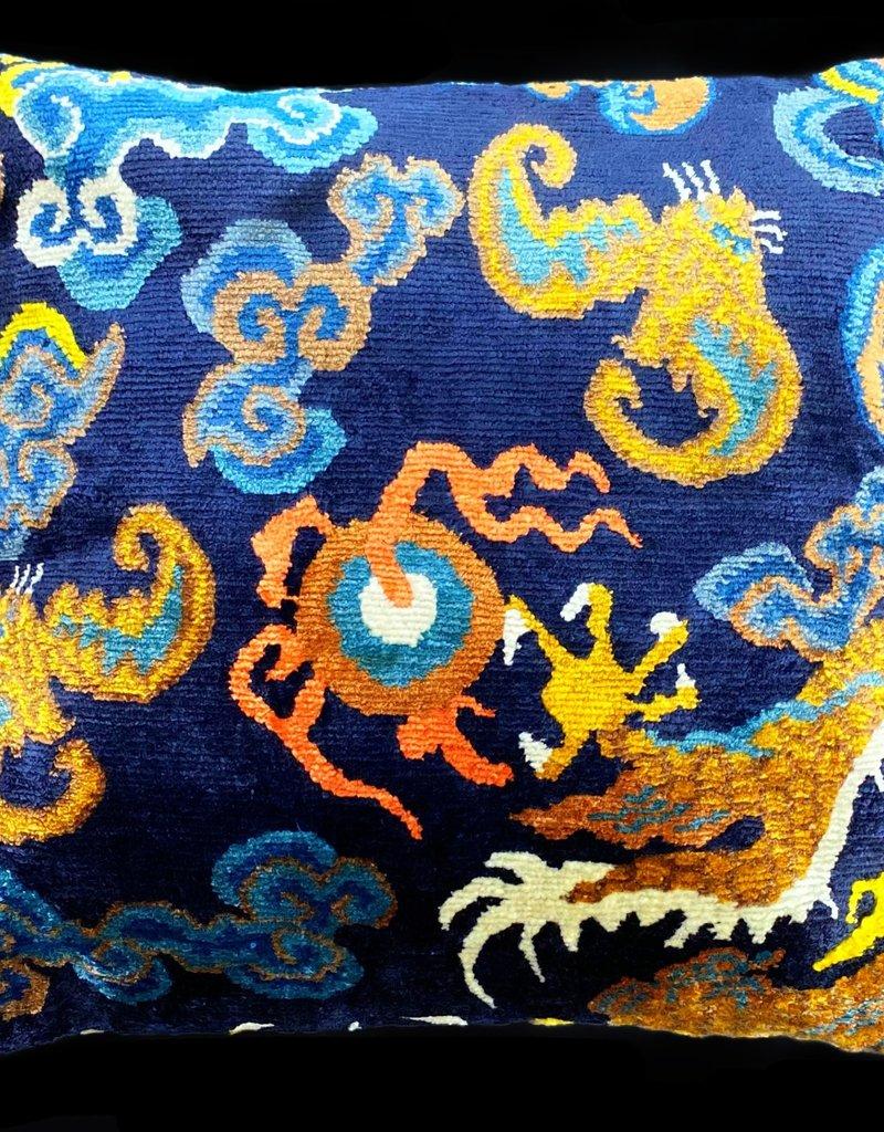 Tibet Home Dragon Tail with Bat Pillow - Blue