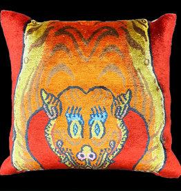 Tiger Half Skin Pillow - Red