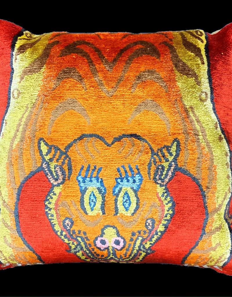 Tibet Home Tiger Half Skin Pillow - Red