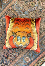 Tiger Half Skin Pillow - Red