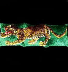 Tibet Home Set of 3 Pillows - Tiger Full Body - Green