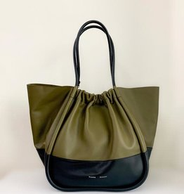 PROENZA SCHOULER XL Ruched Tote - Color Block (Dark Green/Black)