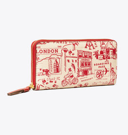 TORY BURCH Perry Printed Zip Contenental Wallet - Red Destination