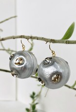 ALEXIS BITTAR Crystal Studded Sphere Wire Earring - Silver