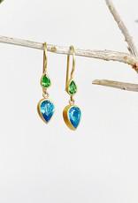 MALLARY MARKS Bon Bon Earrings - Tsavorite and Blue Zircon
