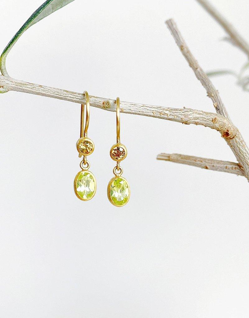 MALLARY MARKS Bon Bon Earrings - Yellow Mali Garnet & Chrysoberyl