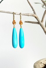 MALLARY MARKS Apple & Eve - Turquoise Drop with Mandarin Garnet Earrings