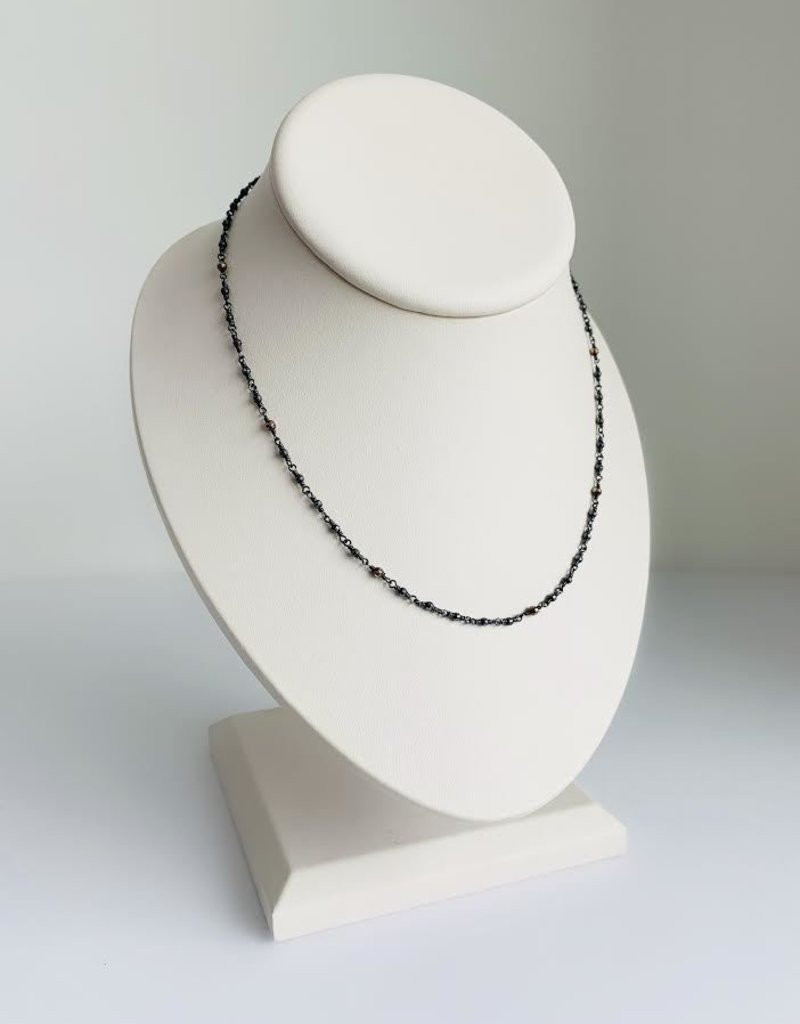 "MIZUKI 18"" Gold Beaded Necklace on Silver"