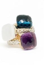POMELLATO London Blue Topaz with Diamond Nudo Ring
