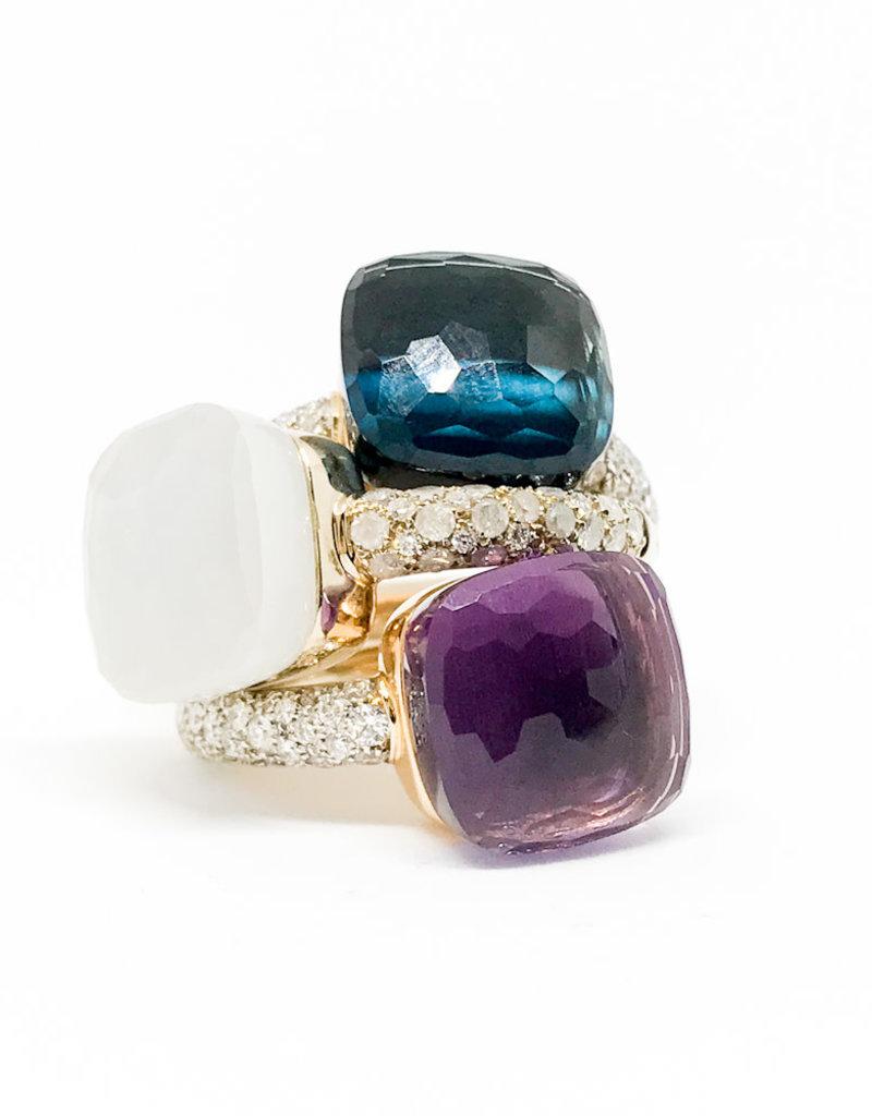 POMELLATO White Moonstone with Diamond Nudo Ring