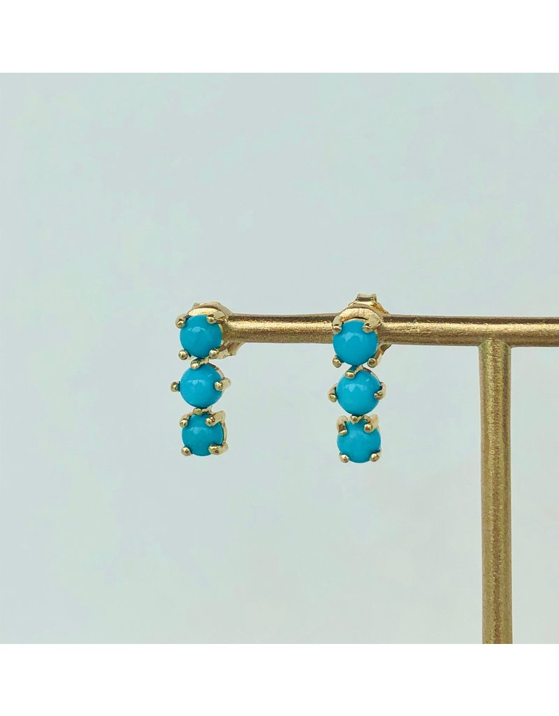 SHANNON JOHNSON 3 Sleeping Beauty Turquoise Stud Earrings