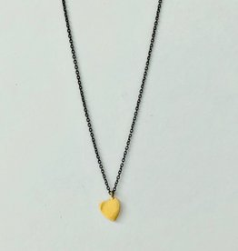 SHANNON JOHNSON Gold Heart on Oxidized Chain Necklace