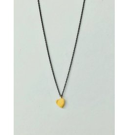 SHANNON JOHNSON Gold Heart on Sterling Silver Chain Necklace