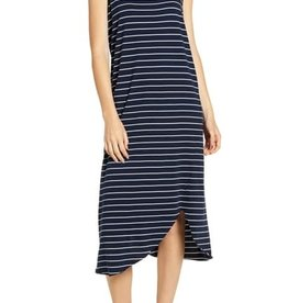 TEE LAB Asymmetric Tank Dress - Navy with White Stripe