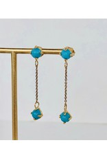 SHANNON JOHNSON 2 Sleeping Beauty Turquoise Dangle Earrings w/ Chain