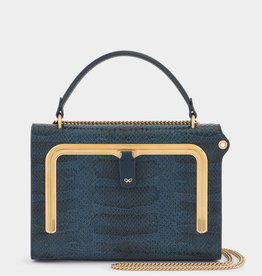 ANYA HINDMARCH Small Postbox Bag - Teal Water Snake