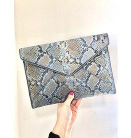 REBECCA MINKOFF Leo Clutch - Cement Blue Multi Snake