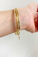SHANNON JOHNSON 3 Bangle Bracelet Set with Cross