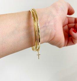 SHANNON JOHNSON 3 Bangle Bracelet Set with Cross