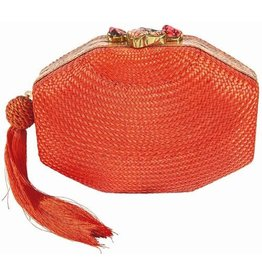 RAFE Sofia Straw Clutch - Orange