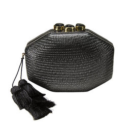 RAFE Sofia Straw Clutch - Black