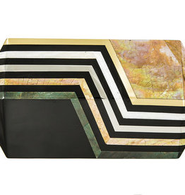 RAFE Annabelle Polygon Minaudiere - Black & Gold Multi