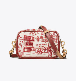 TORY BURCH Perry Printed Canvas Mini Bag - Red Destination