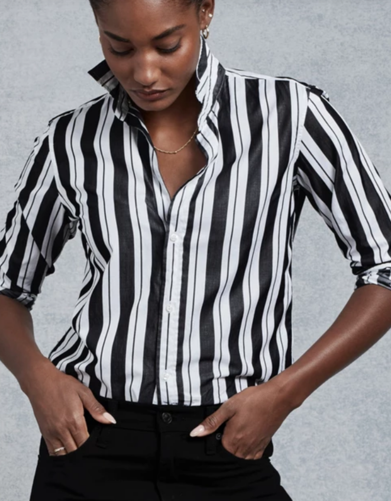 FRANK & EILEEN Frank - Wide Black Multi Stripe