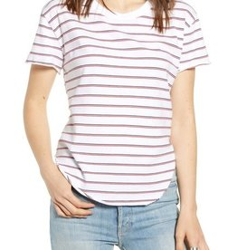 TEE LAB Vintage Tee - White with Navy & Red Stripe