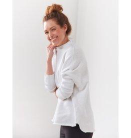 TEE LAB Funnel Neck Sweatshirt - White with Gray Melange Stripe