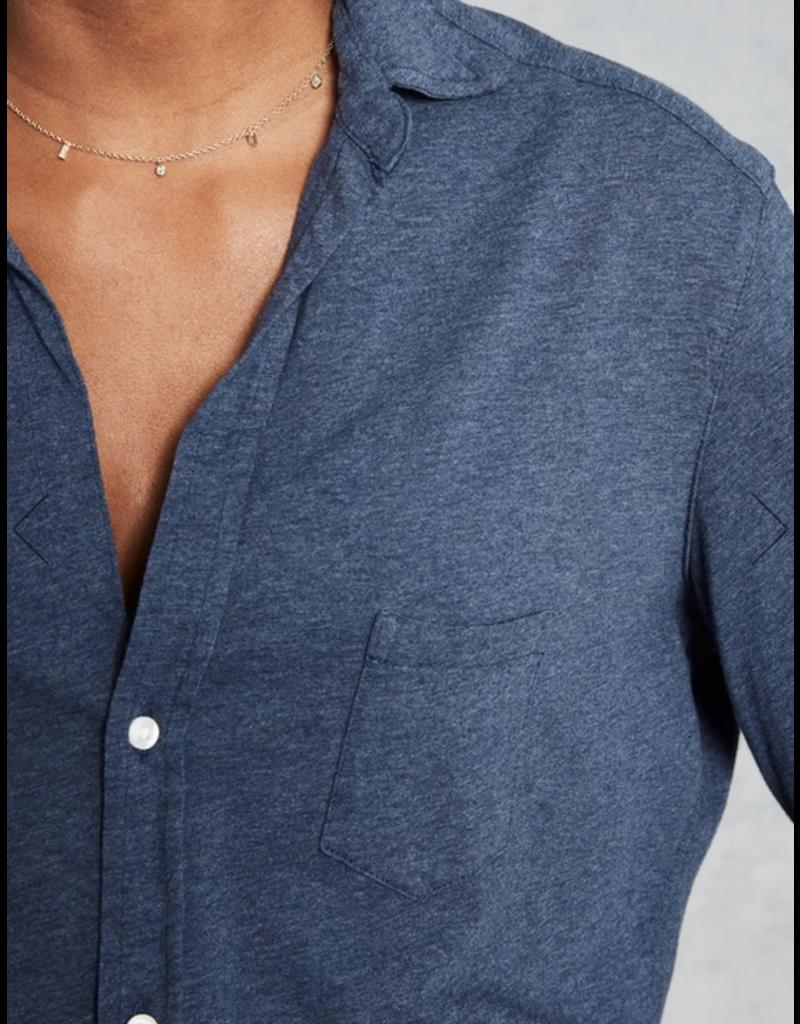 TEE LAB Knit Button Down Shirt - Indigo Melange