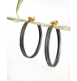 SHAESBY Two Tone Inlay Hoops - Silver