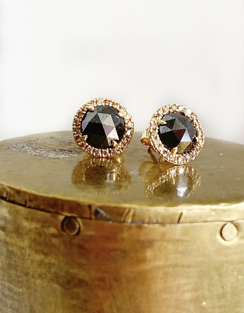 SHAESBY Rose Cut Black Diamond Studs