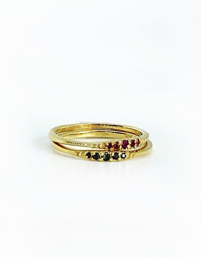 SHAESBY Flamenco Stack Ring - Ruby