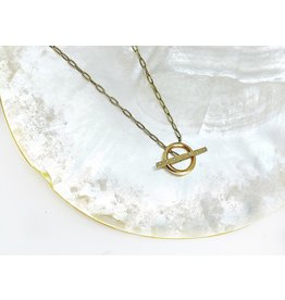 SHAESBY Toggle Necklace w/ White Diamonds