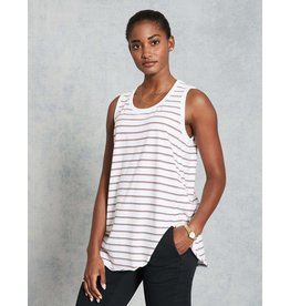 TEE LAB Relaxed Asymmetric Tank - White w/ British Navy Double Decker Red Stripe