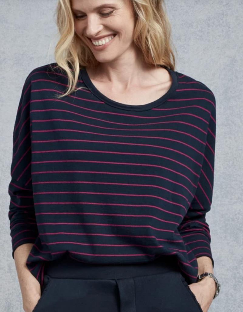 TEE LAB Long Sleeve Crop Tee - Navy + Primrose Stripe