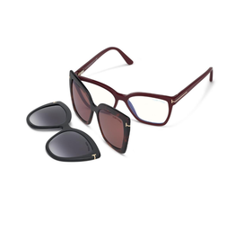 TOM FORD Double Clip On Blue Block Opticals - Aubergine/Fuschia