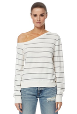 360 SWEATER Asymmetric Neck Diane Striped Sweater - Optic White/Navy