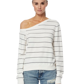 360 SWEATER Asymmetric Neck Diane Striped Sweater - Optic White/Navy