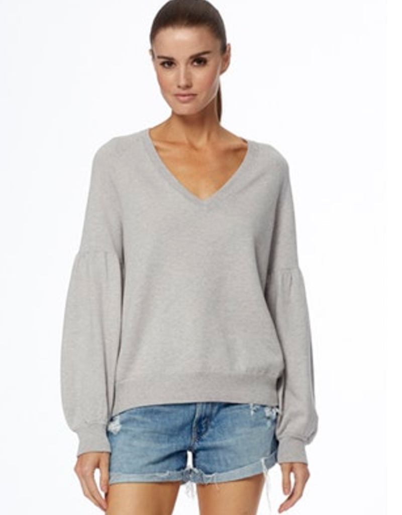 360 SWEATER Cotton Cashmere Mabel Puff Sleeve Sweater - Heather Grey