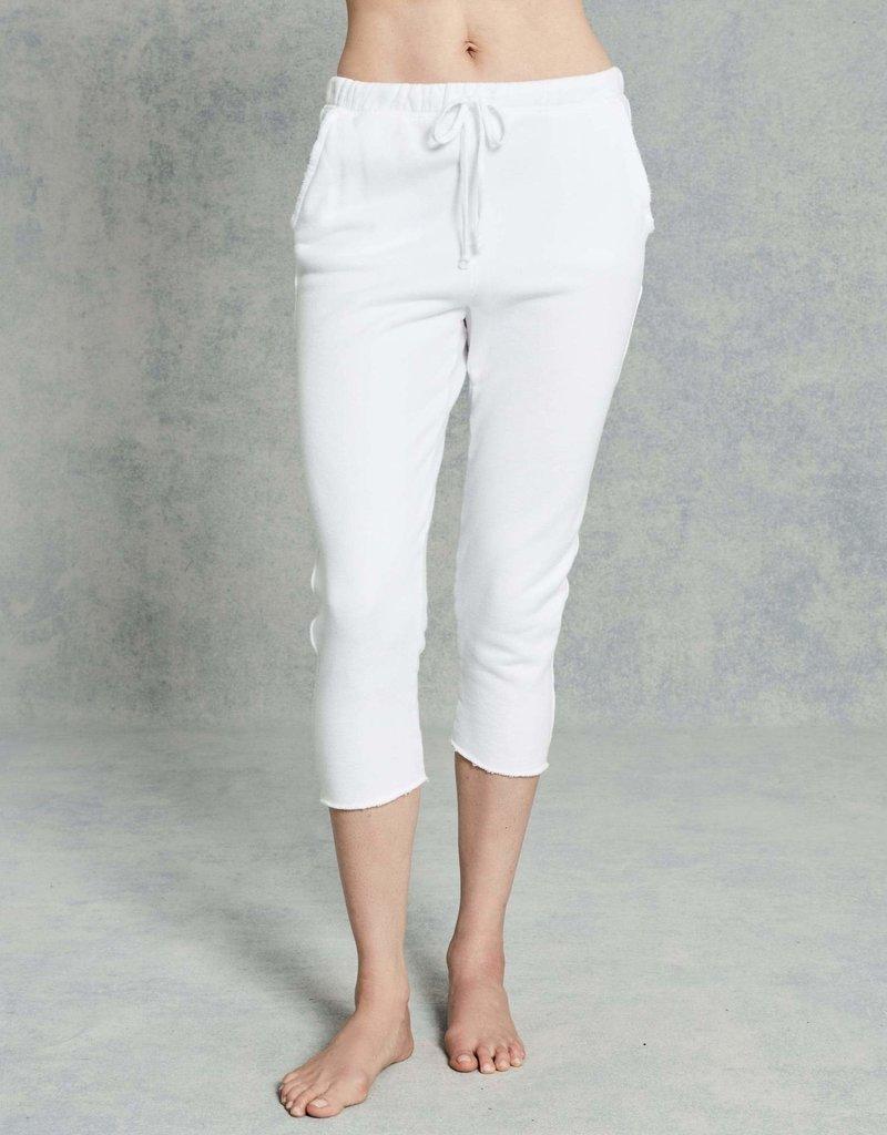 TEE LAB Cropped Raw Hem Sweatpant - White