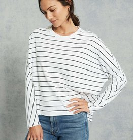 TEE LAB Oversized Continuous Sleeve Sweatshirt - White with Black Stripe