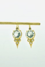 ERICA MOLINARI 18K Green Amethyst Diamond Triplet Earrings