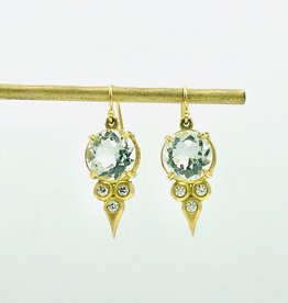 ERICA MOLINARI 18K Green Amethyst Diamond Triplet Earrings