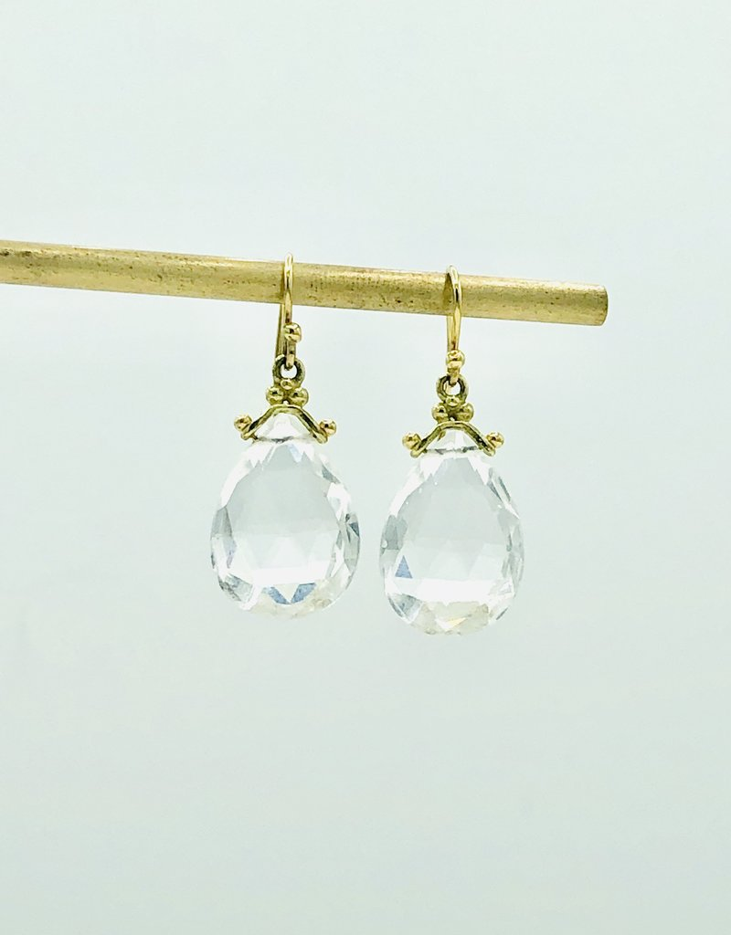 ERICA MOLINARI 18K White Topaz Drop Earring