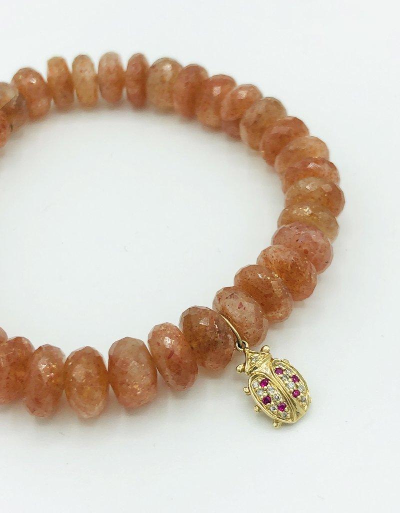 SYDNEY EVAN Sunstone & Ladybug Bracelet
