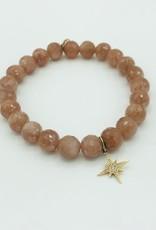 SYDNEY EVAN Peach Moonstone & Starburst Bracelet