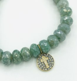 SYDNEY EVAN Blue Silverite & Cross Medallion Bracelet